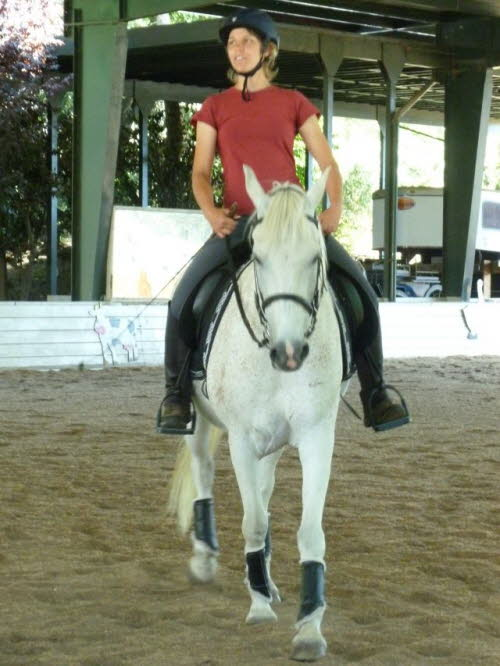 Nancy was able to join us to ride Binki this clinic for some yoga on horseback
